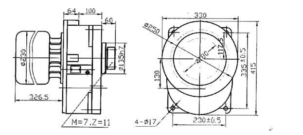 注:若行车地面操作,与实心转子制动(软起动)电机配套使用最佳.